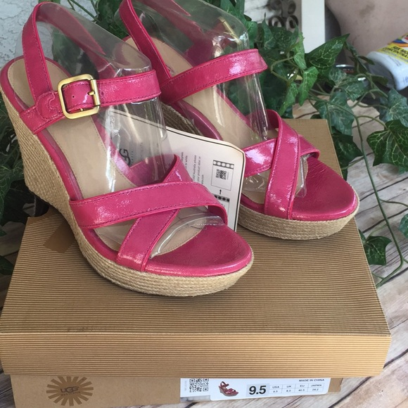 uggs Shoes - Uggs 5 inch wedges pink size 91/2 New
